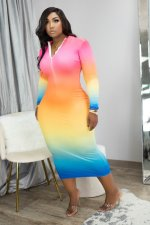 Gradient Long Sleeve Zipper Long Dress MIL-194