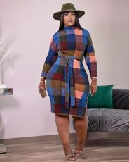 Plaid Print Long Sleeve Split Sashes Knee Length Dress MN-9285