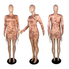 Fashion Printed Long Sleeve Mini Dress YFS-3656