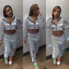 LUCKY LABEL Print Hooded Two Piece Pants Set MOY-8303