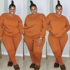 Plus Size Solid Long Sleeve Thin Two Piece Sets MTY-6778