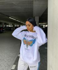 Casual Butterfly Print O Neck Long Sleeve Sweatshirt MX-6001