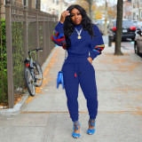 Plus Size Casual Patchwork Two Piece Pants Set ORY-5144