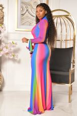 Fashion Rainbow Gradient Zipper Flared Sleeve Maxi Dress CQF-935
