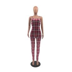 Sling Sleeveless Plaid Print Slim Jumpsuit QSF-5031