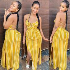 New Summer Sexy Sling Striped Print Long Dress YUHF-8053