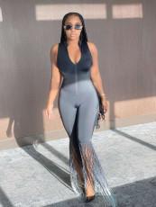 Fashion Casual Sleeveless Slim Tassel Jumpsuit QSF-5028