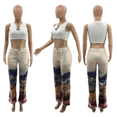 Casual Printed Mid Waist Straight Long Pants SZF-9007