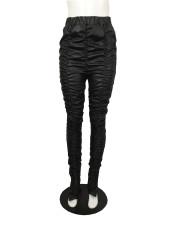 Plus Size Sexy Skinny Ruched Hem Slit PU Leather Pants QYF-5040
