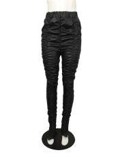 Plus Size Sexy Skinny Ruched Hem Slit PU Leather Pants QYF-5040