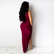 Sexy One Shoulder High Split Ruched Maxi Dress PN-6653