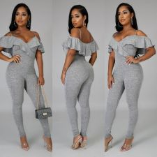 Sexy V Neck Off Shoulder Ruffled Jumpsuits YM-9271