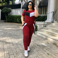 Plus Size Casual Short Sleeve Two Piece Pants Set ONY-5073