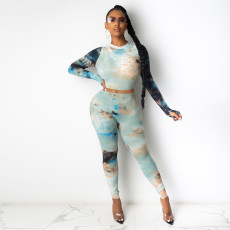 Tie Dye Long Sleeve Two Piece Pants Set TE-4181