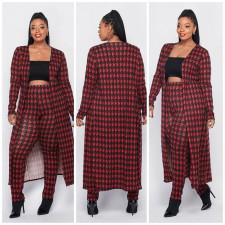 Plus Size Houndstooth Print Long Cloak+Pants 2 Piece Sets XMY-9293