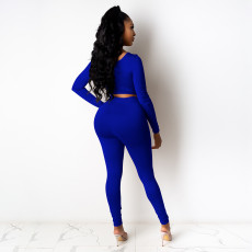 Sexy Long Sleeve Solid Two Piece Pants Set FOSF-8020