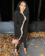 Sexy Ribbed Lace Up Long Sleeve Slim Jumpsuits FOSF-8038