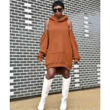 Plus Size Casual Loose Off Shoulder Hoodie Dress CYA-8873