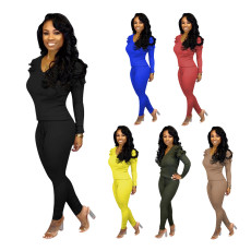 Plus Size Solid Ruffled Long Sleeve 2 Piece Pants Set DYF-1010