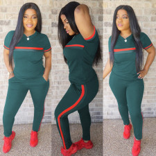 Plus Size Green Red Striped Short Sleeve 2 Piece Pants Set DYF-1047
