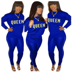 Plus Size QUEEN Letter Beading Long Sleeve 2 Piece Sets DYF-1013