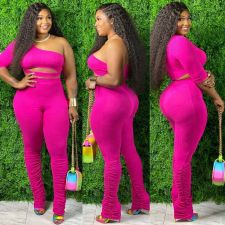 Plus Size Solid One Shoulder Stacked Pants 2 Piece Sets DYF-1017