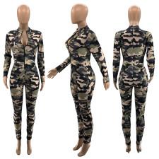 Camouflage Print Hole Long Sleeve Zipper Jumpsuits SZF-9024