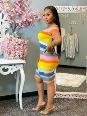 Colorful Striped Backless Short Sleeve Rompers WSM-5223
