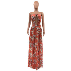 Wrapped Chest Hollow Printed Split Sexy Maxi Dress QSF-5036