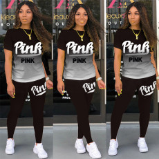 Pink Letter Print Gradient T Shirt Pants 2 Piece Sets KSN-8069