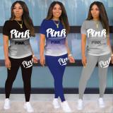 Pink Letter Print Gradient T Shirt Pants 2 Piece Sets KSN-8069