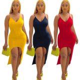 Sexy Spaghetti Strap Irregular Bodycon Long Dress YN-1077