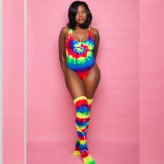 Sexy Tie Dye Print Bodysuit With Stocking BN-9167