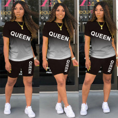 QUEEN Letter Print Gradient Two Piece Shorts Set KSN-8070