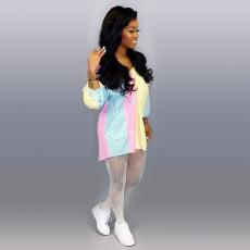 Colorful Striped Long Sleeve Shirt Dress TE-4185
