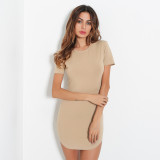 Solid Short Sleeve O Neck Mini Dress MDNF-0390