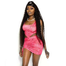 Sexy Printed Sleeveless Mini Skirt Two Piece Sets YF-9824