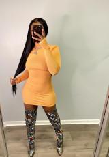 Sexy Backless Tuerleneck Long Sleeve Bodycon Dress YM-9273