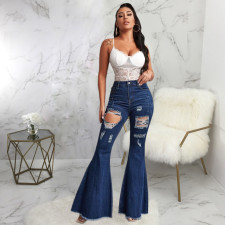 Plus Size Denim Ripped Hole Flared Jeans HSF-2404