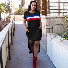 Casual Stripe Print Short Sleeve Split Long T Shirt Dress OY-6247