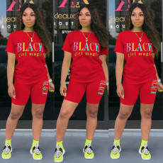 Letter Print T Shirt Shorts Casual Two Piece Sets SHA-6223