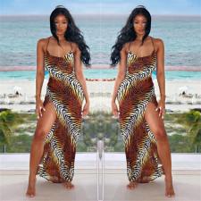Sexy Tiger Striped High Split Slip Maxi Dress LSL-6412