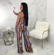 Sexy Printed Halter Backless Wide Leg Jumpsuits OY-6248