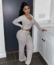 Solid Color Casual Fashion Long Sleeve Pants Two Piece Set CL-6102