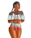 Plus Size Tie Dye Print Swimsuit Bikinis Sets DYF-1053