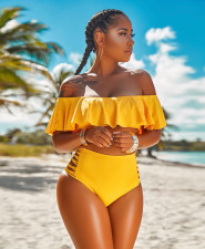 Plus Size Sexy Solid Swimsuit 2pcs Bikinis Sets DYF-1055