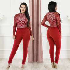 Fashion Lace Zipper Long Sleeve Sexy Slim Jumpsuit LX-2802
