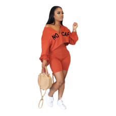 Plus Size Letter Print Long Sleeve Two Piece Shorts Set BLI-2240