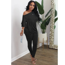 Casual Solid Color Flare Sleeve Top And Pants Two Piece Set XYMF-8056
