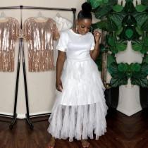 White Mesh Patchwork Short Sleeve Maxi Dress YD-8109